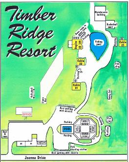 Timber Ridge map, Mark Twain lake, cabins, kitchenette units, motel units, alpacas, firering, pavilion, playground, game room, wooded setting